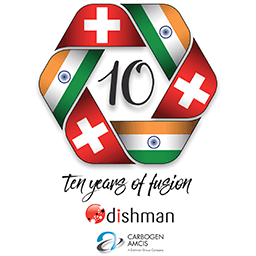 Dishman and Carbogen Amcis 10 years of Fusion logo