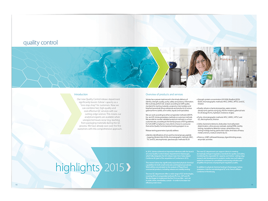 Annual Report design for Solvias