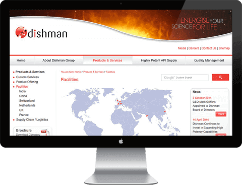 Web Design for Dishman Pharmaceuticals, Chichester